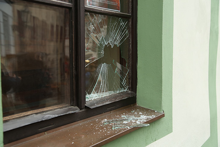 A2B Glass are able to board up broken windows while they are being repaired in Kingsbury.